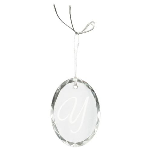 Oval Facet Crystal Ornament 1