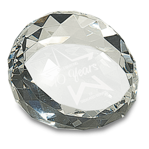 Round Angled Crystal Facet Paperweight - 2 Sizes 1