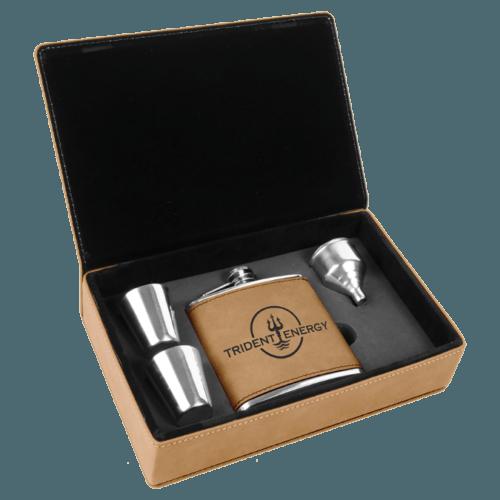 Light Brown Leatherette Flask Gift Box Set