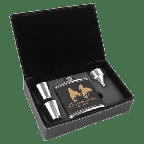 Black & Gold Leatherette Flask Gift Box Set