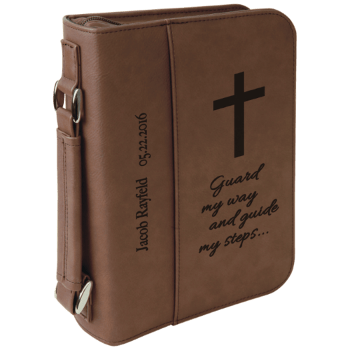 Leatherette Book/Bible Cover with Handle & Zipper - Multiple Colors & Sizes 3