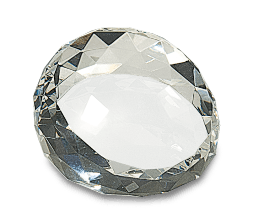 Round Angled Crystal Facet Paperweight - 2 Sizes 2