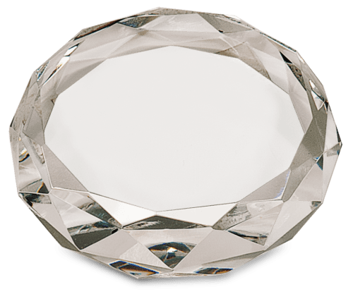 Round Crystal Paperweight with Facets 2