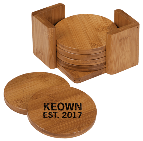 Round Bamboo 6-Coaster Set with Holder 1