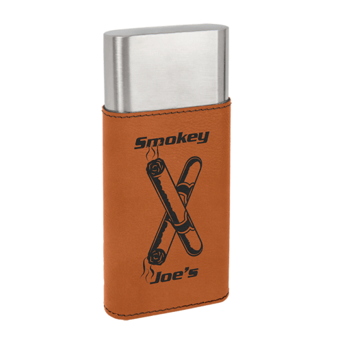 Leatherette Wrapped - Stainless Steel Cigar Case & Cutter - 7 Colors 4
