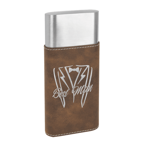 Leatherette Wrapped - Stainless Steel Cigar Case & Cutter - 7 Colors 7