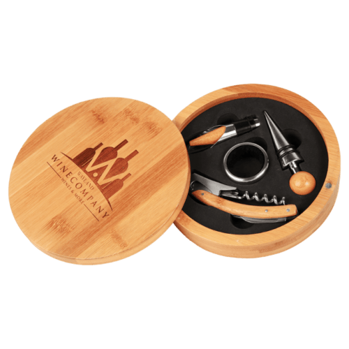 Round Bamboo 4-Piece Wine Tool Set 1