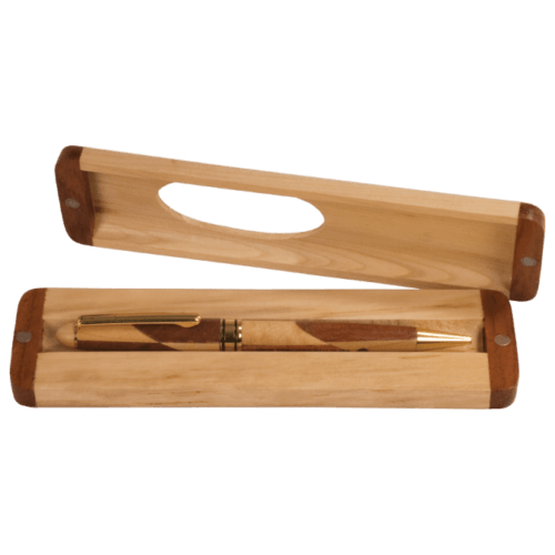 Maple & Rosewood Finish Single Pen Case with Magnetic Closure