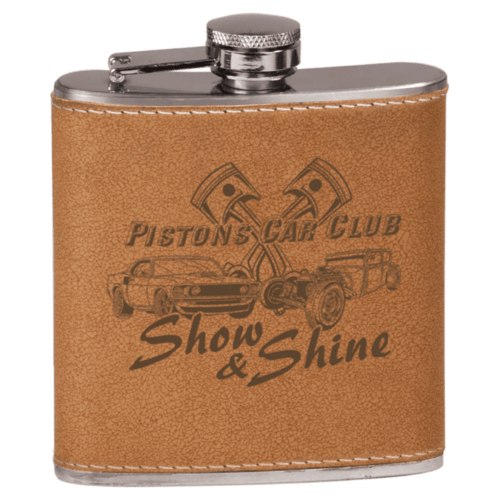 6 oz. Leatherette Personalized Flask - 15 Colors 4