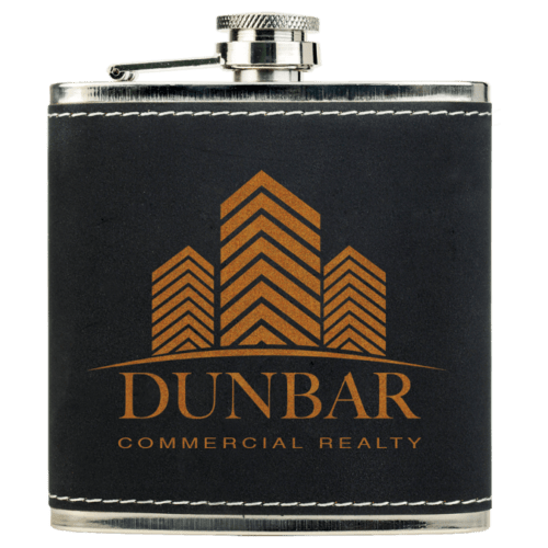 6 oz. Leatherette Personalized Flask - 15 Colors 3