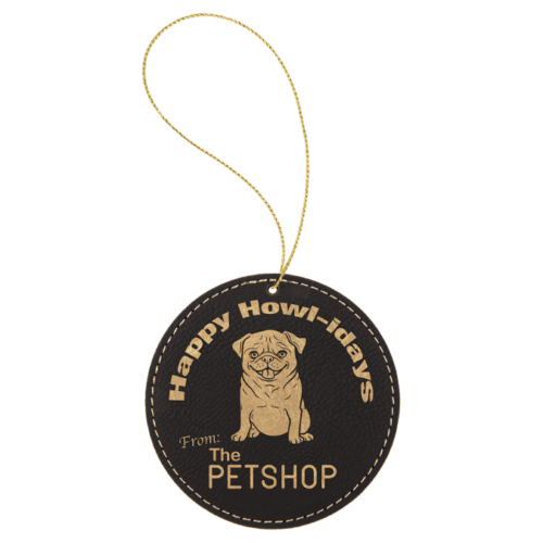 Leatherette Round Ornament - 8 Colors 4