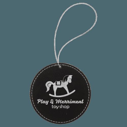 Leatherette Round Ornament - 8 Colors 8