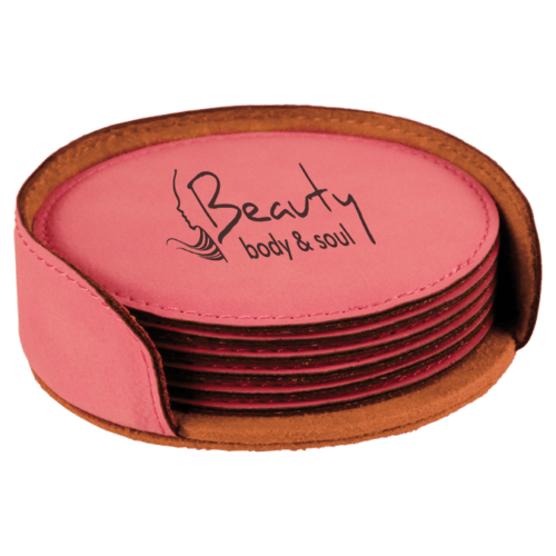 Round Leatherette 6-Coaster Set - 12 Colors 1