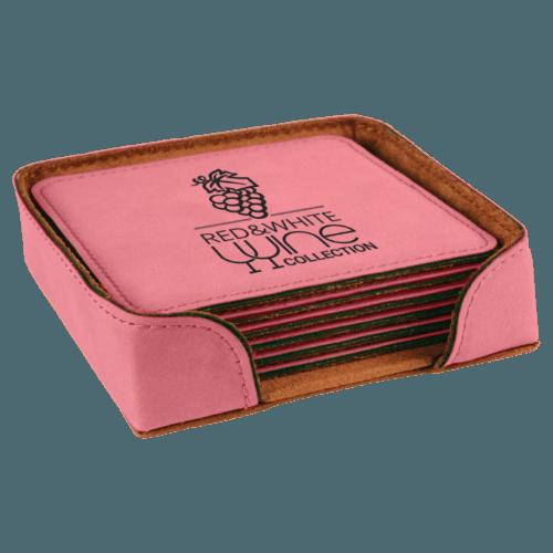 Square Leatherette 6-Coaster Set - 12 Colors 1