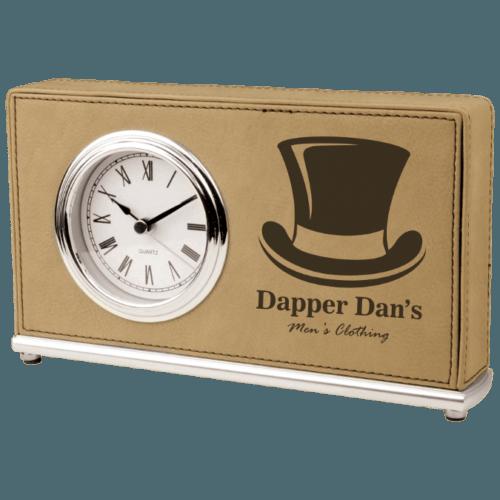 Leatherette Horizontal Desk Clock - 4 Colors 1