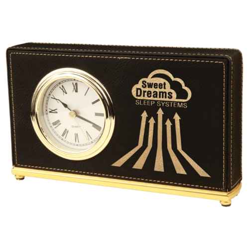 Leatherette Horizontal Desk Clock