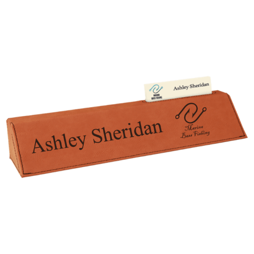 Leatherette Desk Wedge with Business Card Holder - 5 Colors 5