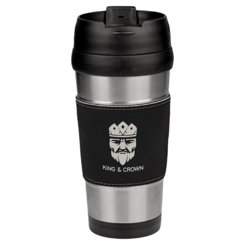 Personalized Stainless Steel Travel Mug with Leatherette Grip (16 oz.)