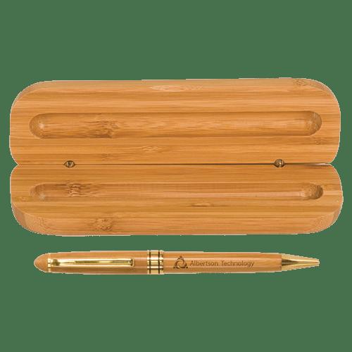 Bamboo Single Pen Case with Pen 1