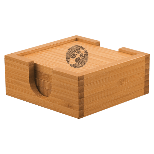 Square Bamboo 4-Coaster Set with Holder 1