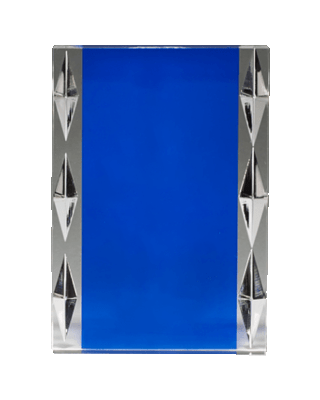 Freestanding Acrylic with Blue Background and Carved Jewel Accents 2