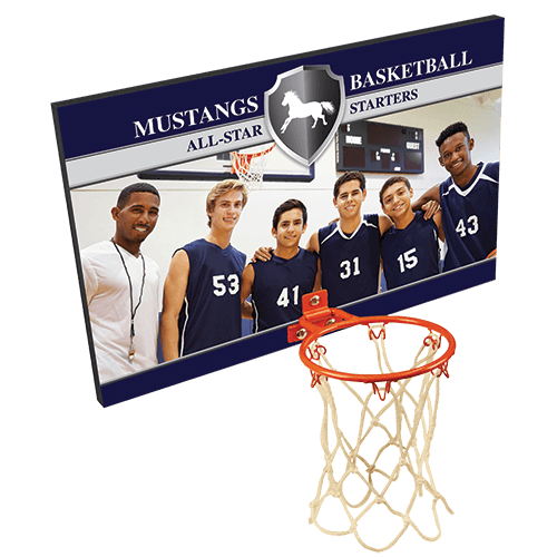 Full Color Basketball Plaque with Metal Hoop - 2 Sizes 1