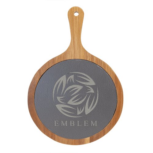 Round Acacia Wood & Slate Serving Board with Handle - 2 Sizes 2