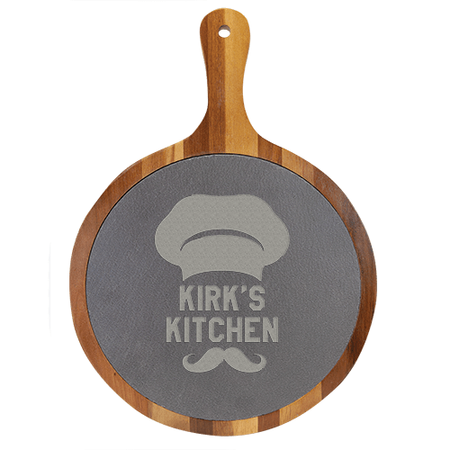 Round Acacia Wood & Slate Serving Board with Handle - 2 Sizes 1