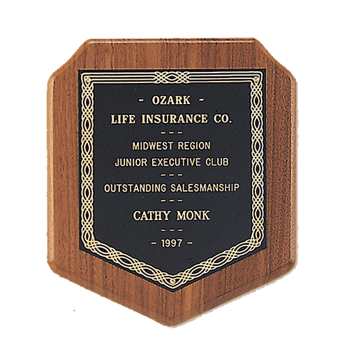 American Walnut Block Shield Plaque with a Black Brass Plate 1