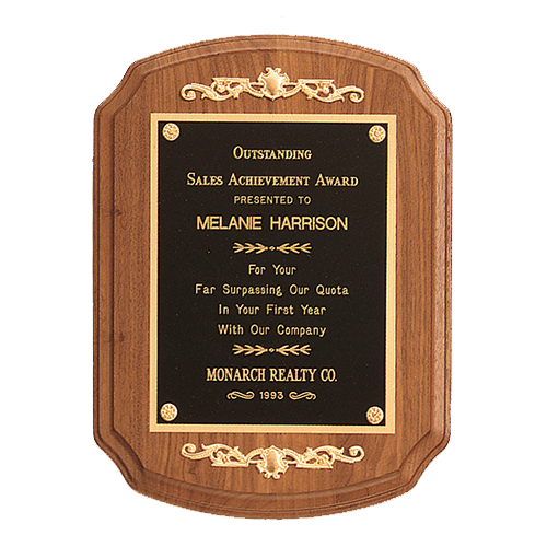 American Walnut Plaque with Decorative Accents 1