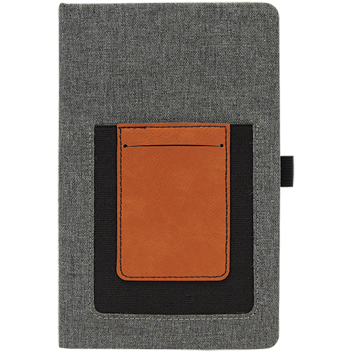 Journal with Leatherette Cell/Card Slot - 3 Colors 3