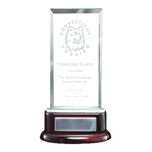 Rectangle Glass and Rosewood Standup - Engraved Glass Award 1