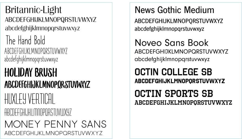 Selection of our San Serf Font choices