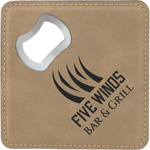 Leatherette Coaster with Bottle Opener - 8 Colors 1