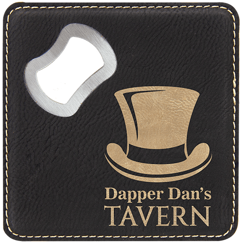 Leatherette Coaster with Bottle Opener - 8 Colors 3