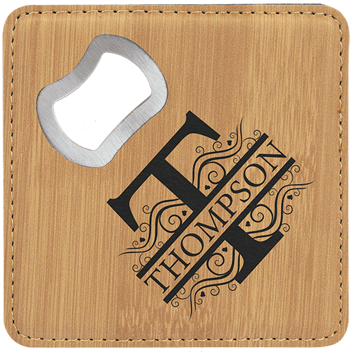 Leatherette Coaster with Bottle Opener - 8 Colors 8